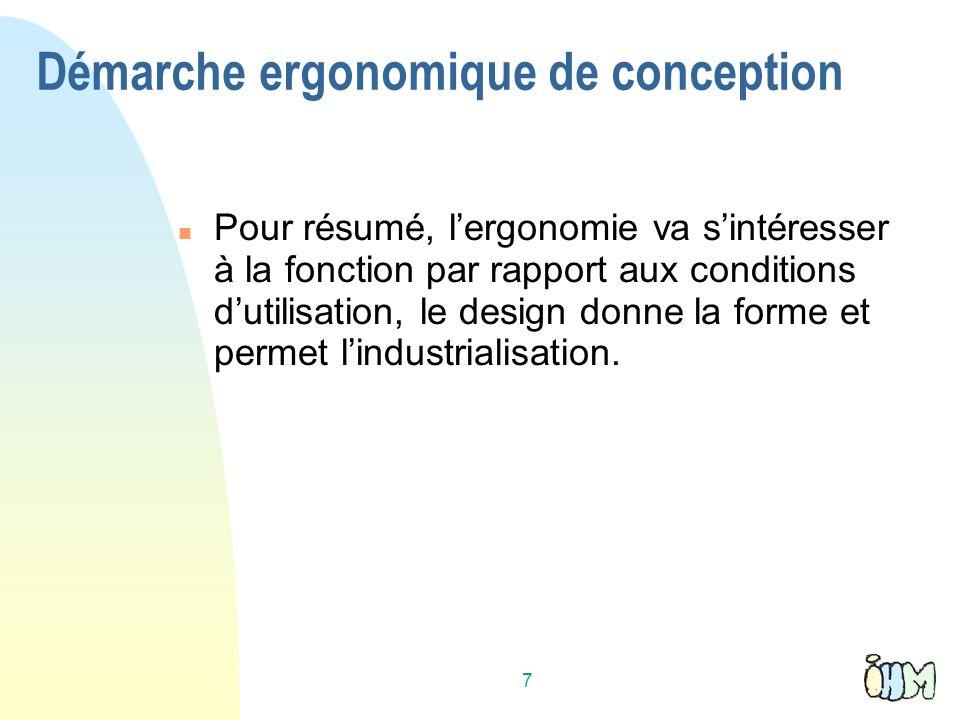 7 Pour résumé, lergonomie va sintéresser à la fonction par rapport aux conditions dutilisation, le design donne la forme et permet lindustrialisation.