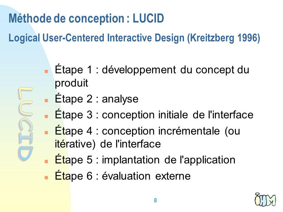 8 Méthode de conception : LUCID Logical User-Centered Interactive Design (Kreitzberg 1996) Étape 1 : développement du concept du produit Étape 2 : analyse Étape 3 : conception initiale de l interface Étape 4 : conception incrémentale (ou itérative) de l interface Étape 5 : implantation de l application Étape 6 : évaluation externe