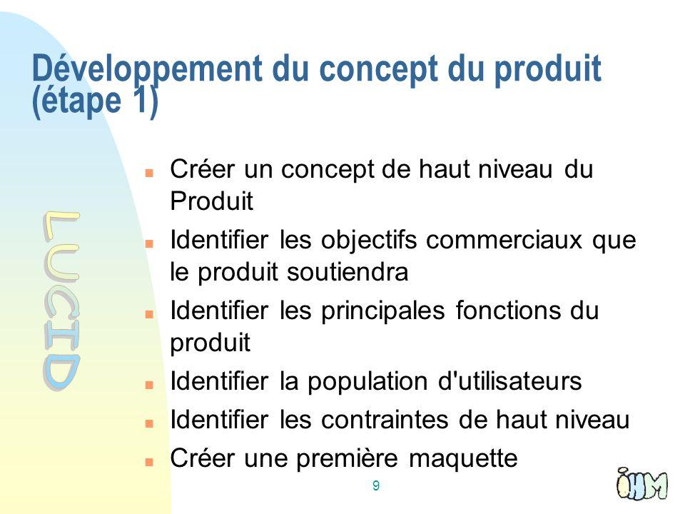 9 Créer un concept de haut niveau du Produit Identifier les objectifs commerciaux que le produit soutiendra Identifier les principales fonctions du produit Identifier la population d utilisateurs Identifier les contraintes de haut niveau Créer une première maquette Développement du concept du produit (étape 1)