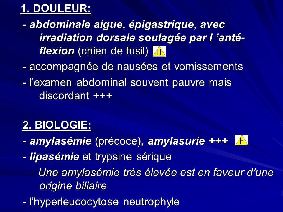 1. DOULEUR: 1. DOULEUR: - abdominale aigue, épigastrique, avec irradiation dorsale soulagée par l anté- flexion (chien de fusil) - accompagnée de naus
