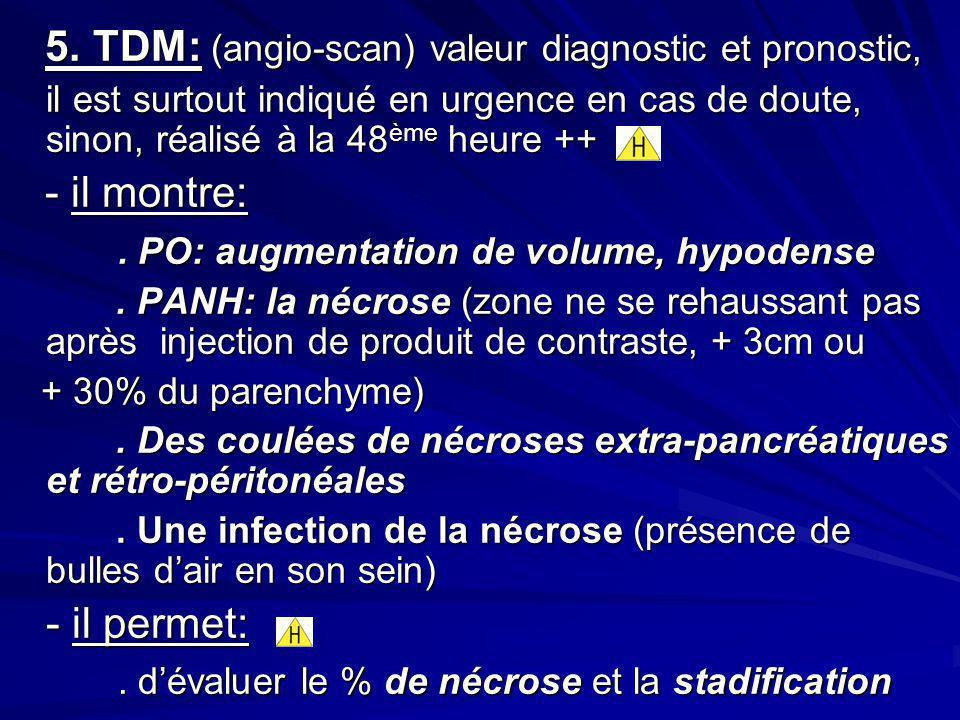 5. TDM: (angio-scan) valeur diagnostic et pronostic, 5. TDM: (angio-scan) valeur diagnostic et pronostic, il est surtout indiqué en urgence en cas de
