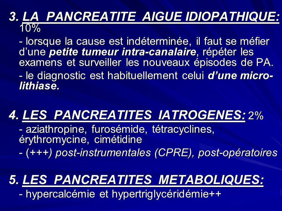 3. LA PANCREATITE AIGUE IDIOPATHIQUE: 10% - lorsque la cause est indéterminée, il faut se méfier dune petite tumeur intra-canalaire, répéter les exame