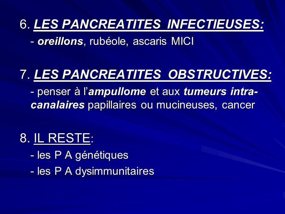 6. LES PANCREATITES INFECTIEUSES: - oreillons, rubéole, ascaris MICI 7. LES PANCREATITES OBSTRUCTIVES: - penser à lampullome et aux tumeurs intra- can