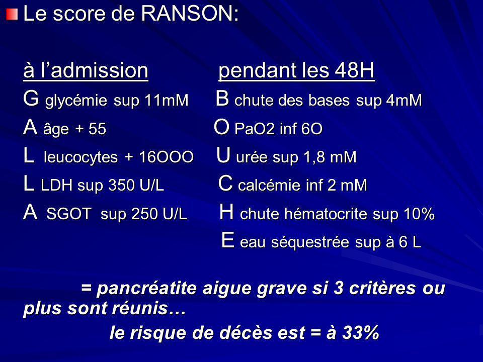 Le score de RANSON: à ladmission pendant les 48H G glycémie sup 11mM B chute des bases sup 4mM G glycémie sup 11mM B chute des bases sup 4mM A âge + 5