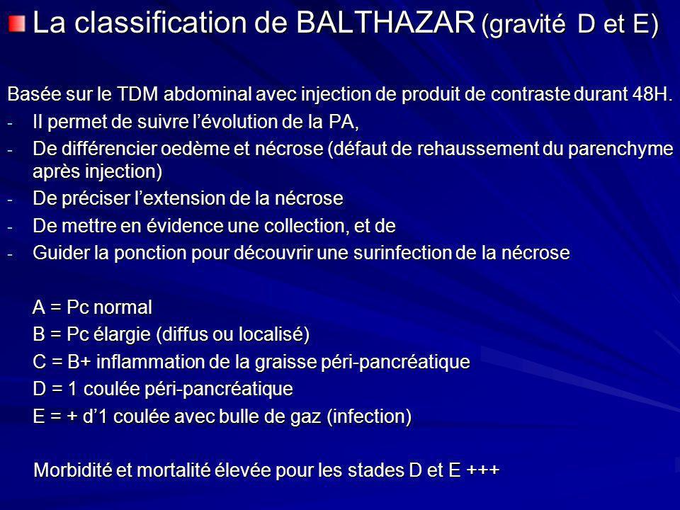 La classification de BALTHAZAR (gravité D et E) Basée sur le TDM abdominal avec injection de produit de contraste durant 48H. - Il permet de suivre lé