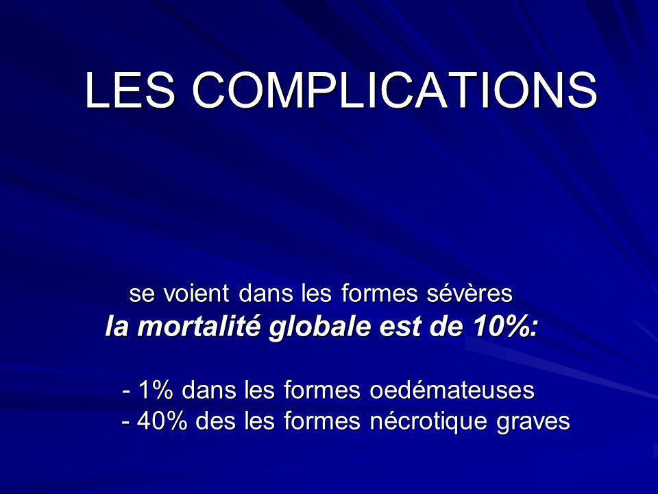 LES COMPLICATIONS se voient dans les formes sévères la mortalité globale est de 10%: - 1% dans les formes oedémateuses - 40% des les formes nécrotique