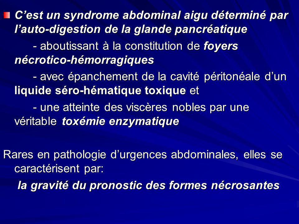 Cest un syndrome abdominal aigu déterminé par lauto-digestion de la glande pancréatique - aboutissant à la constitution de foyers nécrotico-hémorragiq