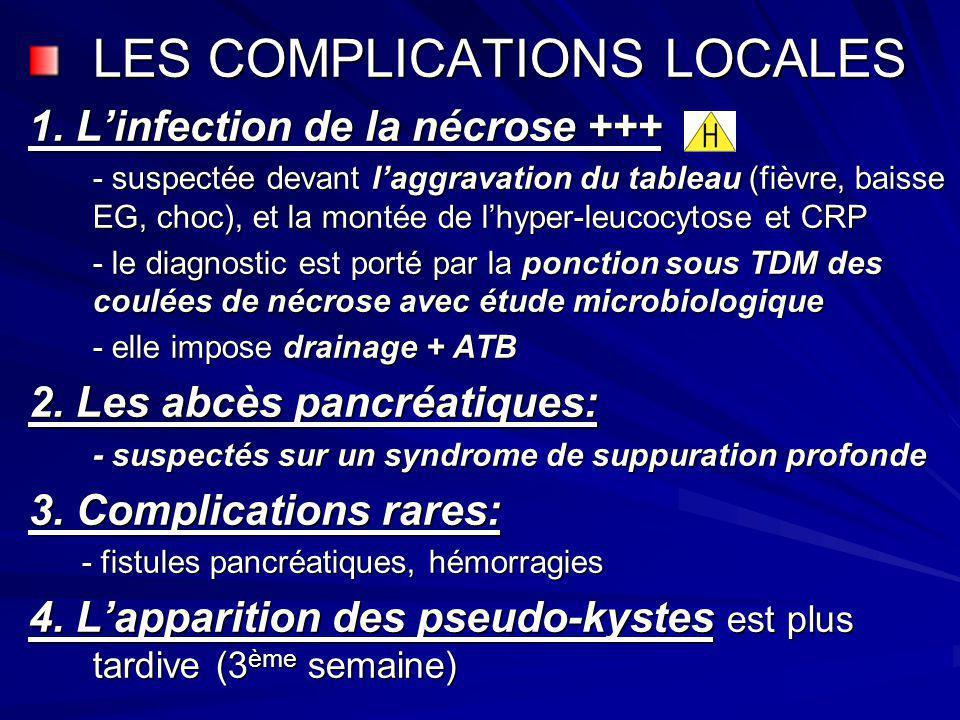 LES COMPLICATIONS LOCALES 1. Linfection de la nécrose +++ - suspectée devant laggravation du tableau (fièvre, baisse EG, choc), et la montée de lhyper