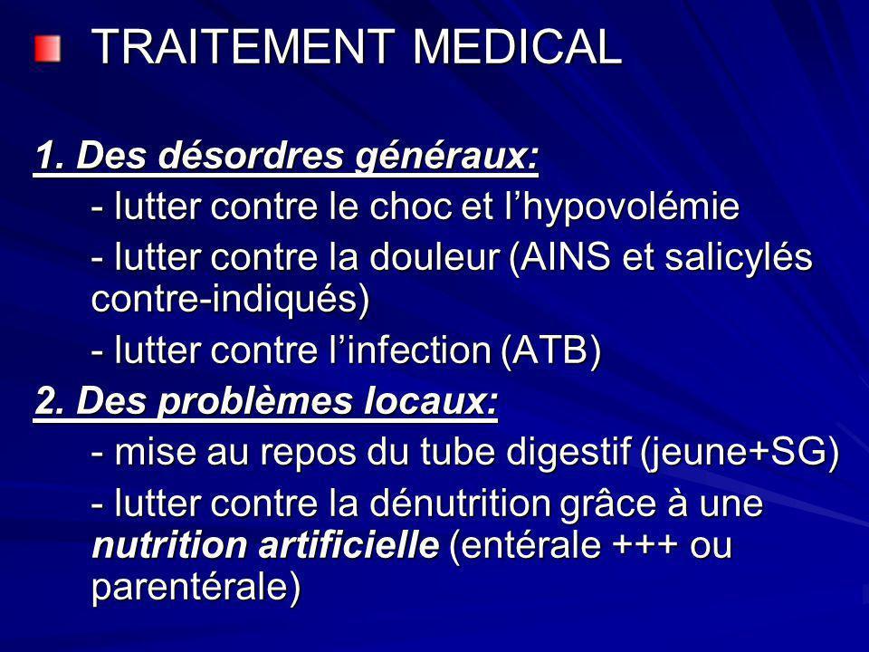 TRAITEMENT MEDICAL 1. Des désordres généraux: - lutter contre le choc et lhypovolémie - lutter contre la douleur (AINS et salicylés contre-indiqués) -