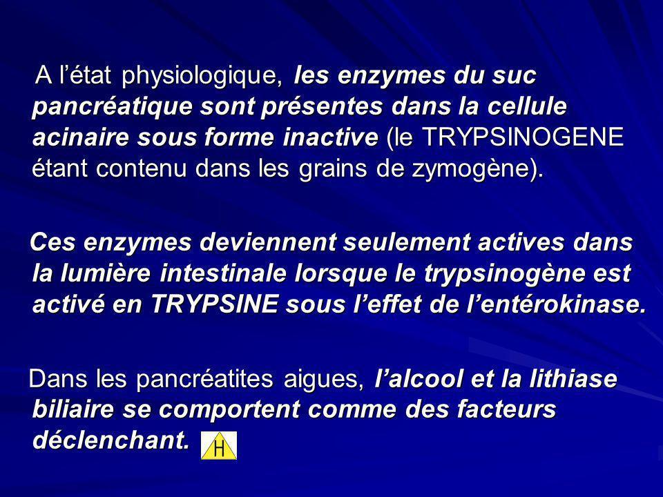 A létat physiologique, les enzymes du suc pancréatique sont présentes dans la cellule acinaire sous forme inactive (le TRYPSINOGENE étant contenu dans