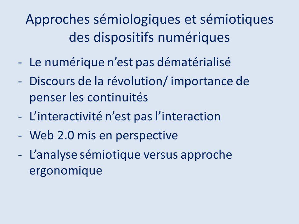 Approches sémiologiques et sémiotiques des dispositifs numériques -Le numérique nest pas dématérialisé -Discours de la révolution/ importance de pense