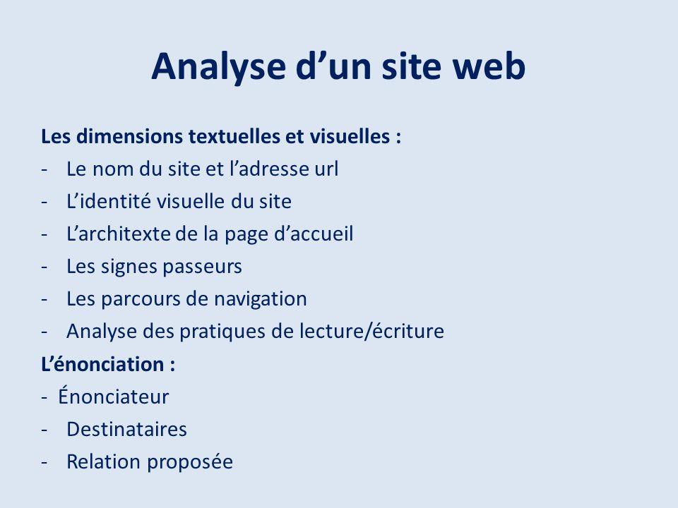 Analyse dun site web Les dimensions textuelles et visuelles : -Le nom du site et ladresse url -Lidentité visuelle du site -Larchitexte de la page dacc