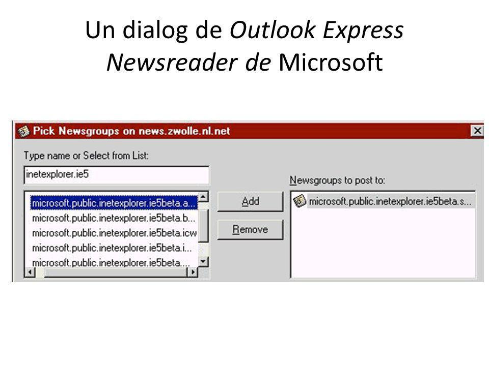 Un dialog de Outlook Express Newsreader de Microsoft