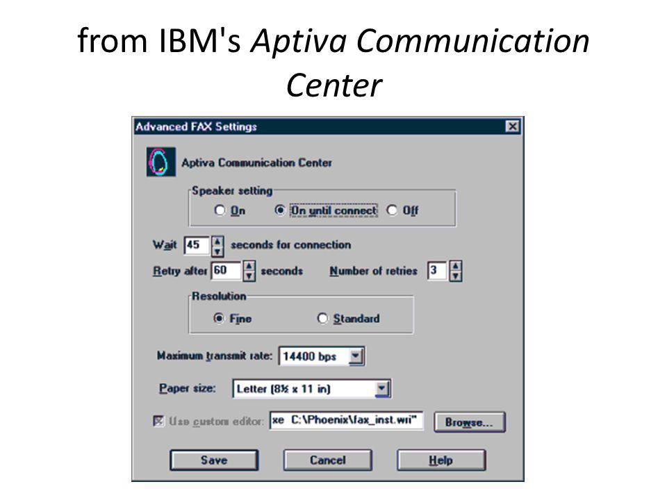 from IBM's Aptiva Communication Center