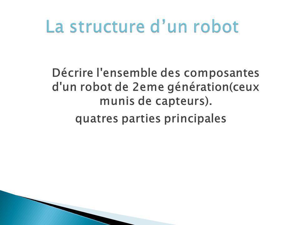 Décrire l'ensemble des composantes d'un robot de 2eme génération(ceux munis de capteurs). quatres parties principales
