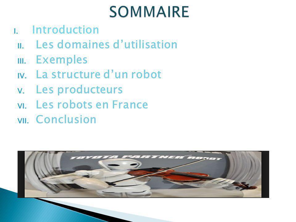 I. Introduction II. Les domaines dutilisation III. Exemples IV. La structure dun robot V. Les producteurs VI. Les robots en France VII. Conclusion