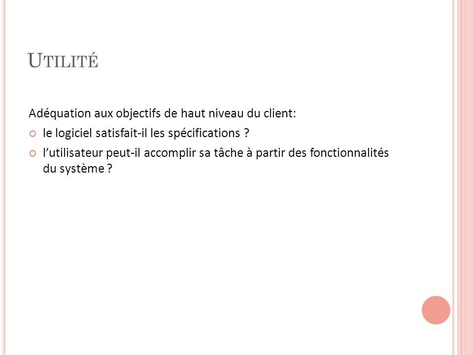U TILITÉ Adéquation aux objectifs de haut niveau du client: le logiciel satisfait-il les spécifications .