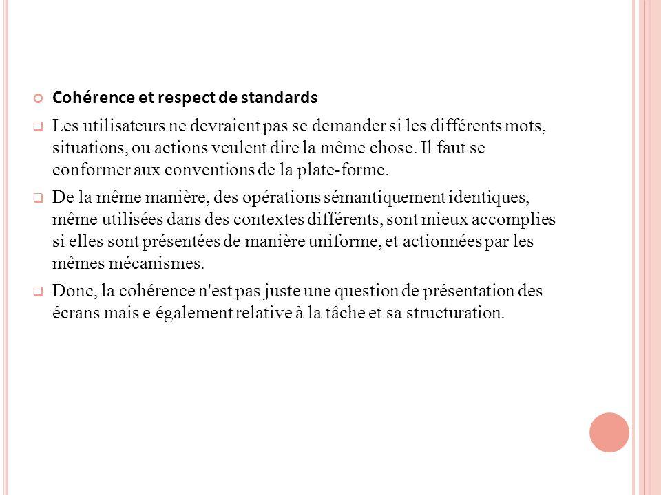 Cohérence et respect de standards Les utilisateurs ne devraient pas se demander si les différents mots, situations, ou actions veulent dire la même chose.