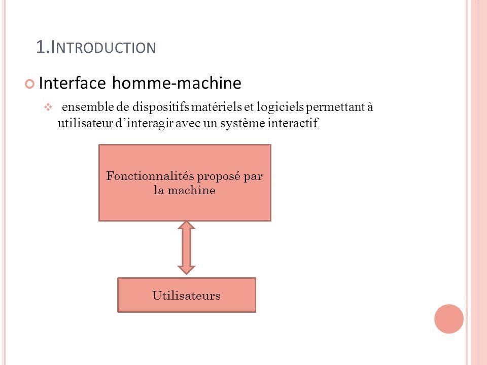1.I NTRODUCTION Interface homme-machine ensemble de dispositifs matériels et logiciels permettant à utilisateur dinteragir avec un système interactif Fonctionnalités proposé par la machine Utilisateurs