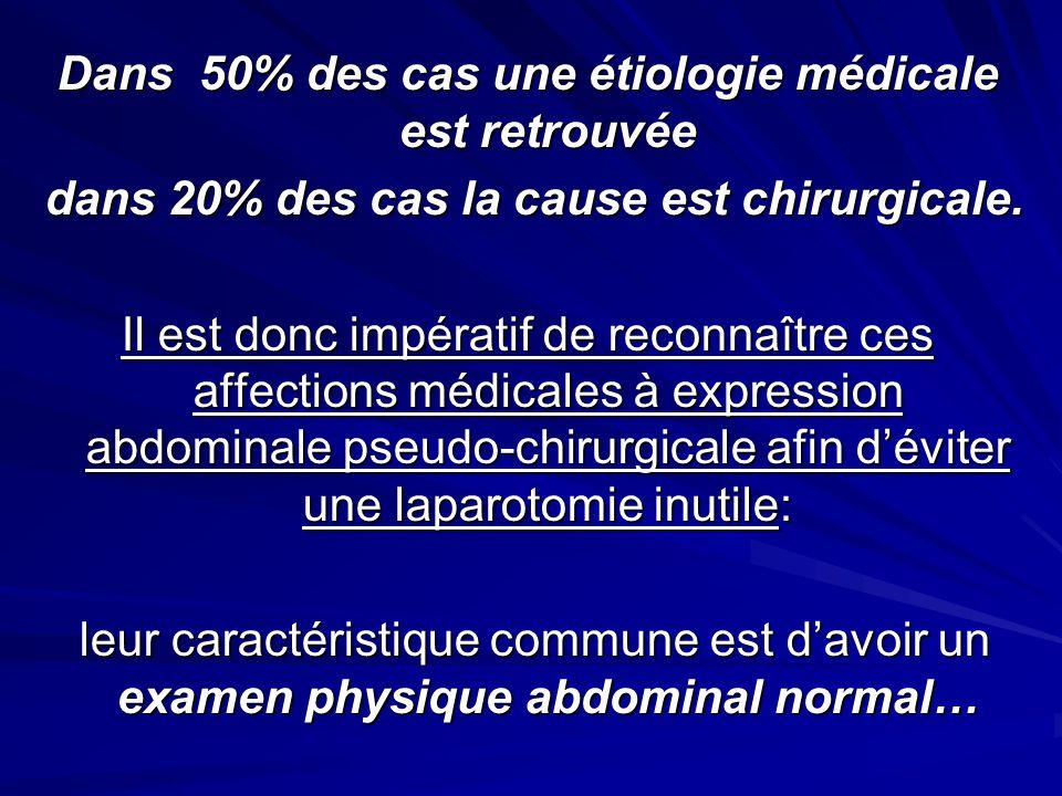 Dans 50% des cas une étiologie médicale est retrouvée dans 20% des cas la cause est chirurgicale.