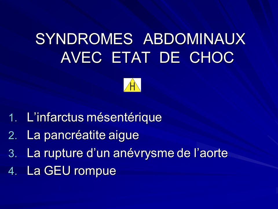 SYNDROMES ABDOMINAUX AVEC ETAT DE CHOC SYNDROMES ABDOMINAUX AVEC ETAT DE CHOC 1.