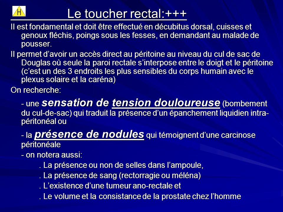 Le toucher rectal:+++ Il est fondamental et doit être effectué en décubitus dorsal, cuisses et genoux fléchis, poings sous les fesses, en demandant au malade de pousser.