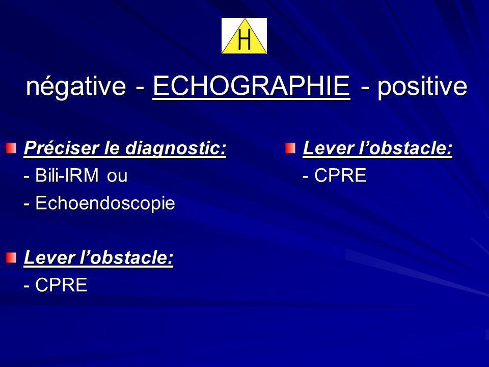 négative - ECHOGRAPHIE - positive Préciser le diagnostic: - Bili-IRM ou - Echoendoscopie Lever lobstacle: - CPRE Lever lobstacle: - CPRE