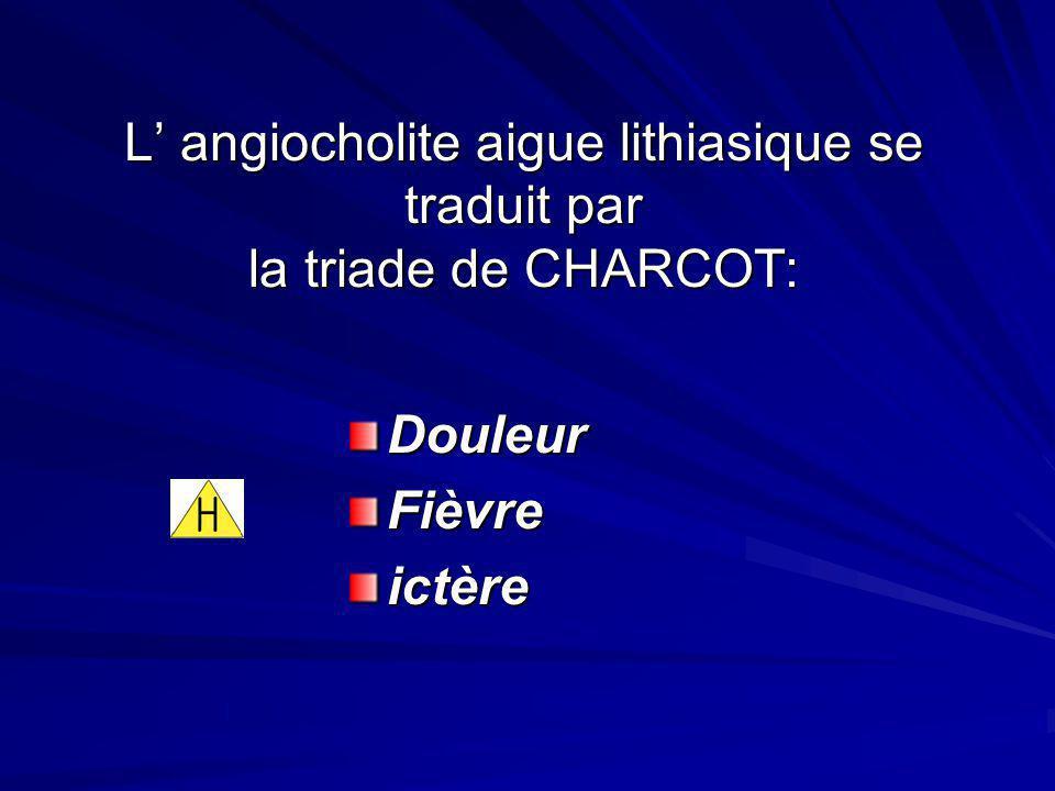 L angiocholite aigue lithiasique se traduit par la triade de CHARCOT: DouleurFièvreictère