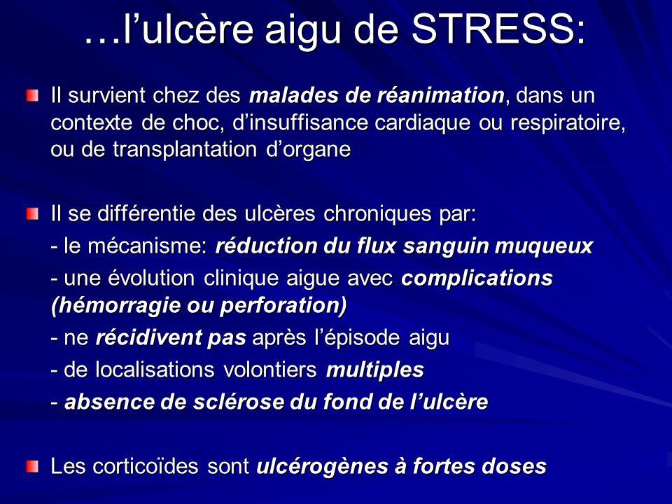 …lulcère aigu de STRESS: Il survient chez des malades de réanimation, dans un contexte de choc, dinsuffisance cardiaque ou respiratoire, ou de transpl