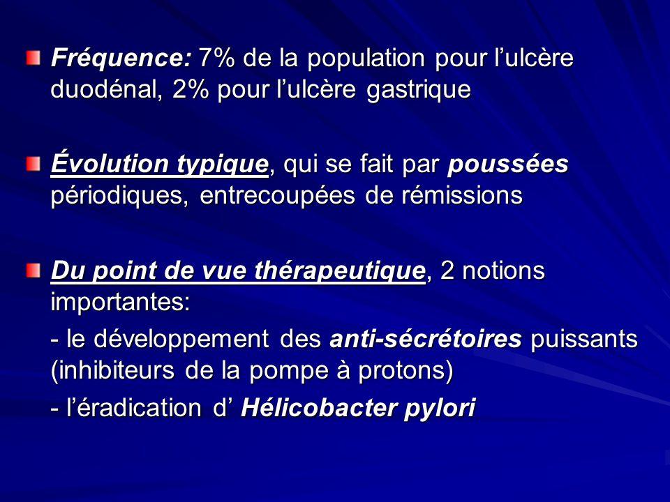 Fréquence: 7% de la population pour lulcère duodénal, 2% pour lulcère gastrique Évolution typique, qui se fait par poussées périodiques, entrecoupées