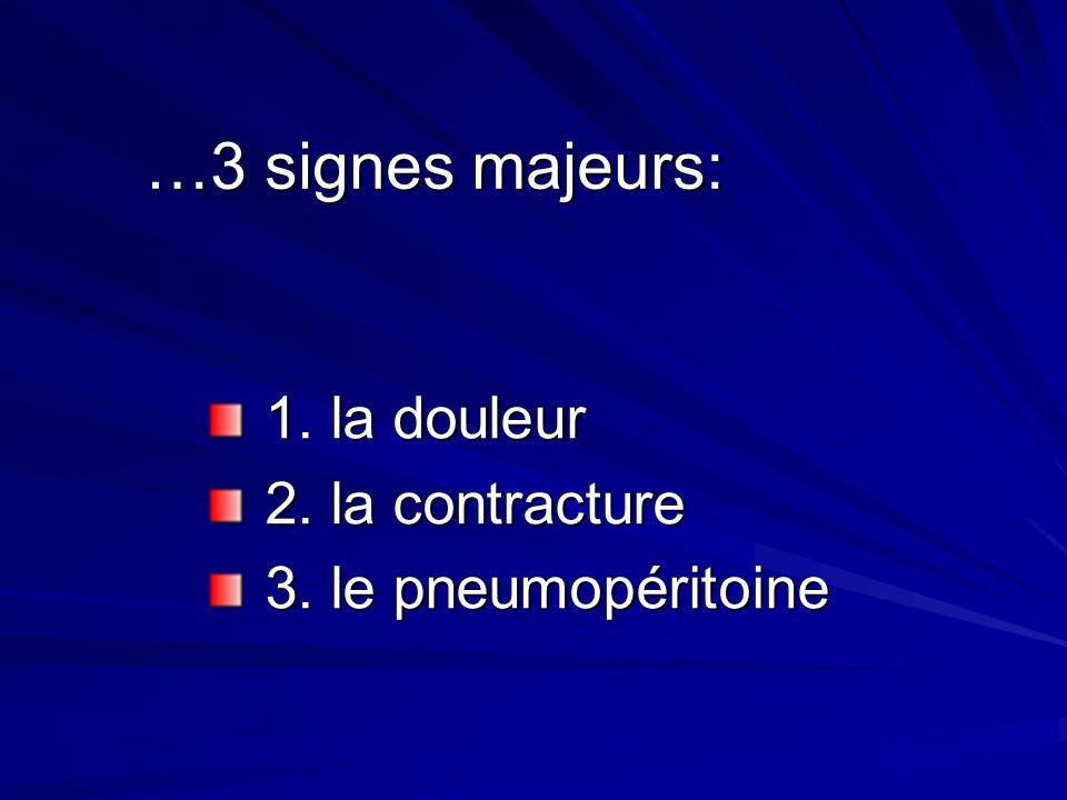 …3 signes majeurs: 1. la douleur 1. la douleur 2. la contracture 2. la contracture 3. le pneumopéritoine 3. le pneumopéritoine
