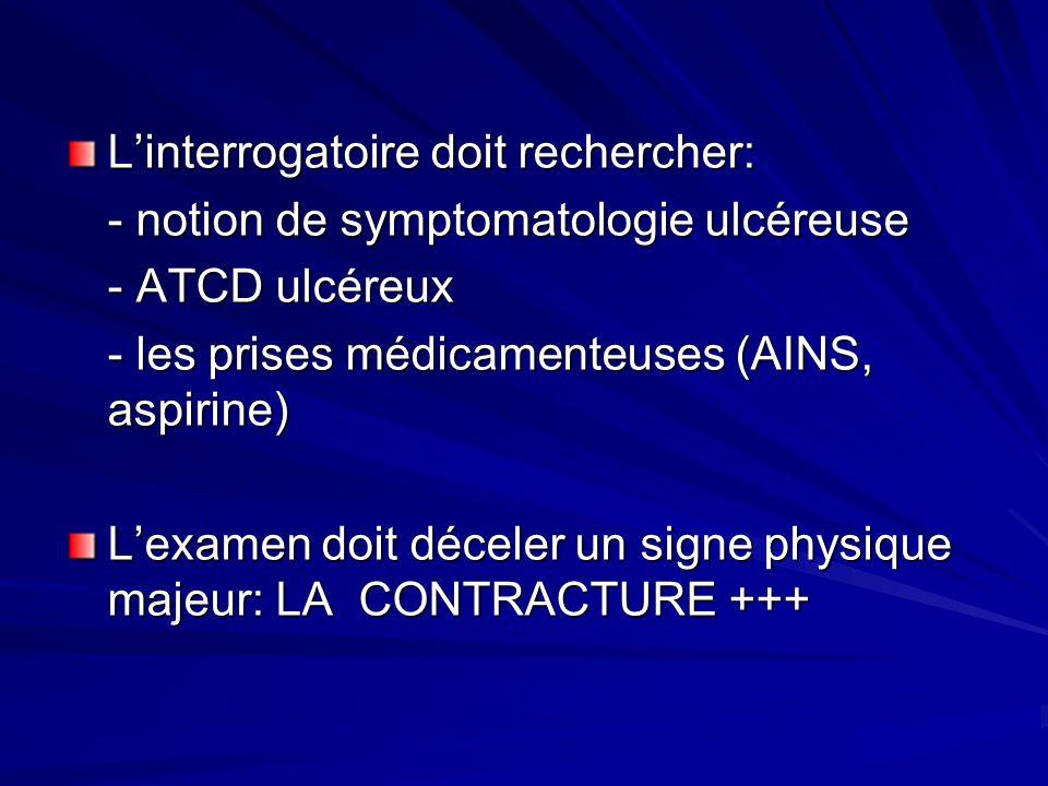 Linterrogatoire doit rechercher: - notion de symptomatologie ulcéreuse - ATCD ulcéreux - les prises médicamenteuses (AINS, aspirine) Lexamen doit déce