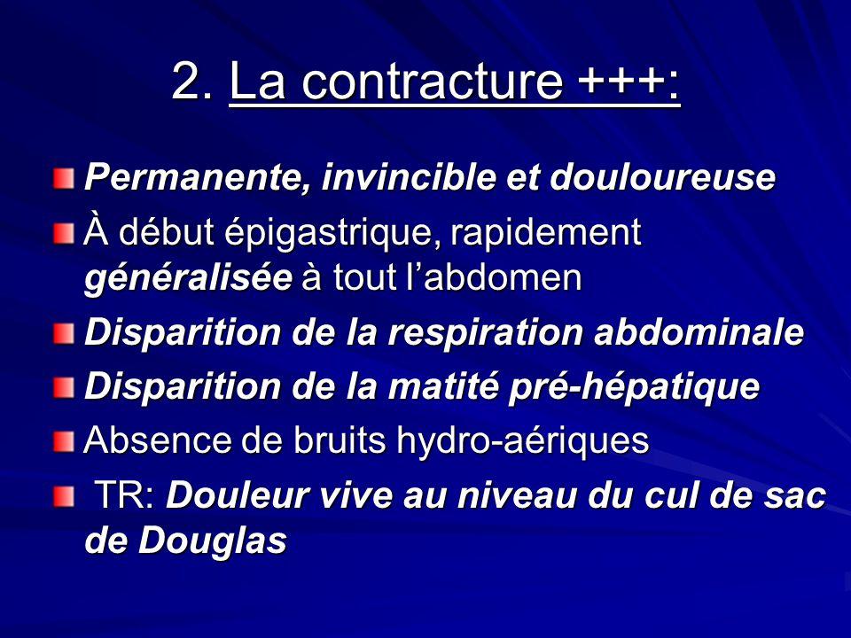 2. La contracture +++: Permanente, invincible et douloureuse À début épigastrique, rapidement généralisée à tout labdomen Disparition de la respiratio