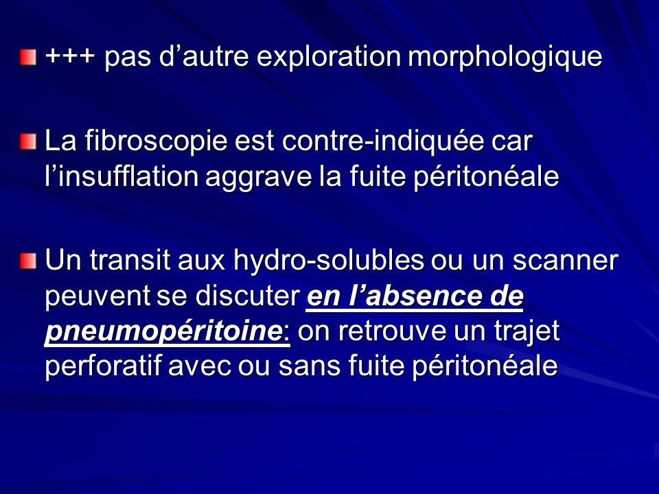 +++ pas dautre exploration morphologique La fibroscopie est contre-indiquée car linsufflation aggrave la fuite péritonéale Un transit aux hydro-solubl