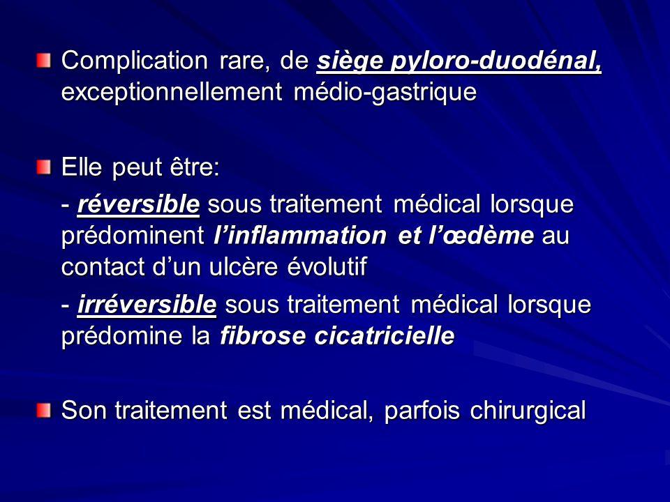 Complication rare, de siège pyloro-duodénal, exceptionnellement médio-gastrique Elle peut être: - réversible sous traitement médical lorsque prédomine