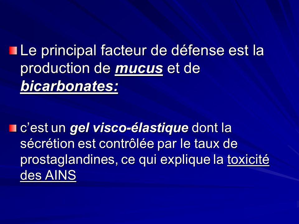 Le principal facteur de défense est la production de mucus et de bicarbonates: cest un gel visco-élastique dont la sécrétion est contrôlée par le taux