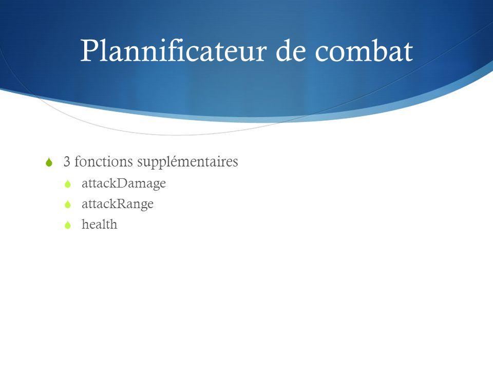 Plannificateur de combat 3 fonctions supplémentaires attackDamage attackRange health
