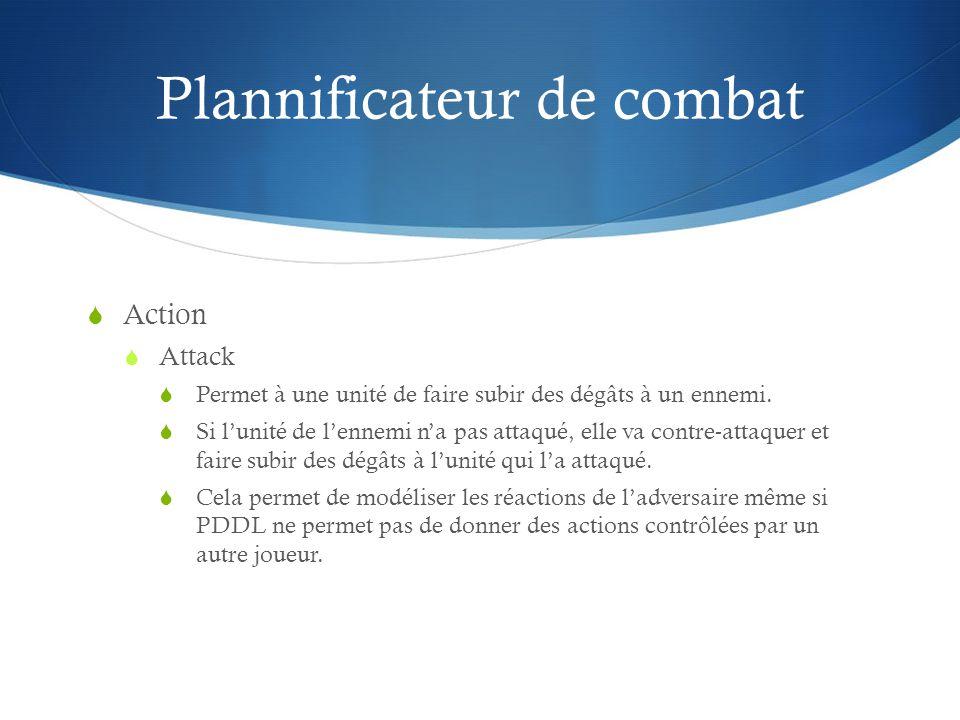 Plannificateur de combat Action Attack Permet à une unité de faire subir des dégâts à un ennemi. Si lunité de lennemi na pas attaqué, elle va contre-a