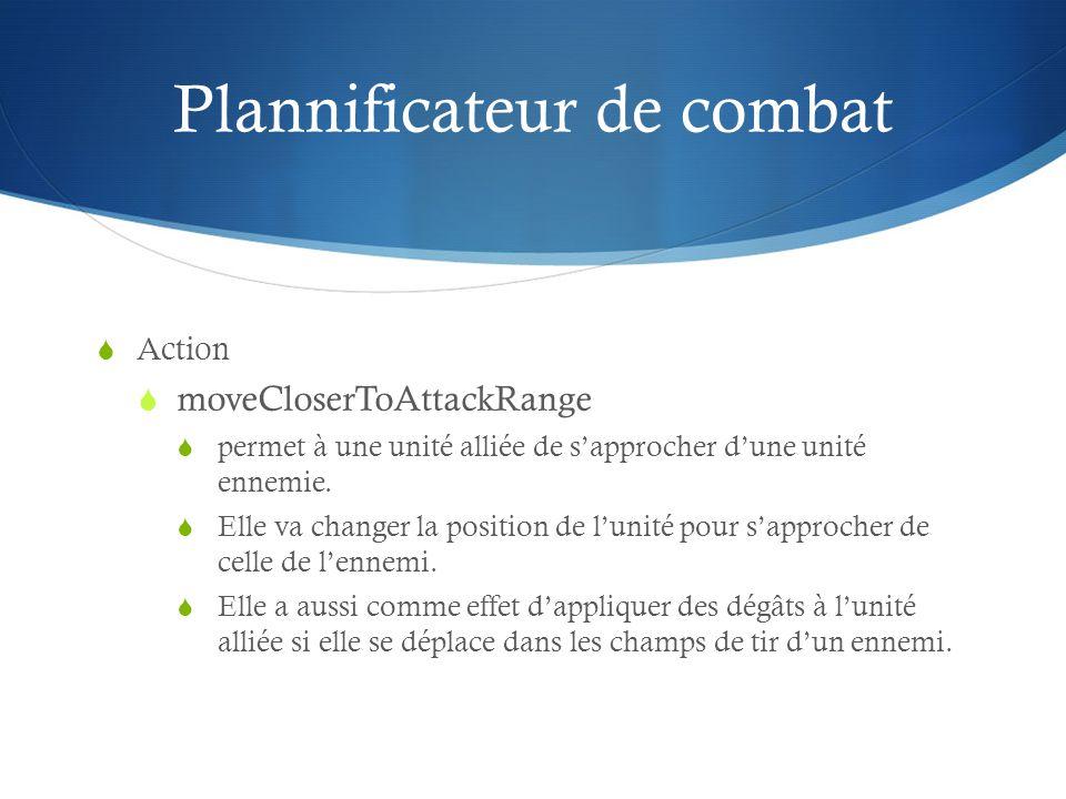 Plannificateur de combat Action moveCloserToAttackRange permet à une unité alliée de sapprocher dune unité ennemie. Elle va changer la position de lun