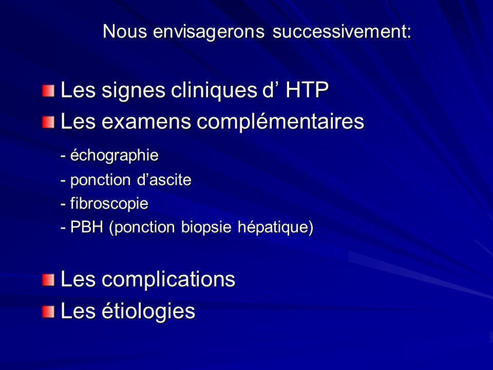 Nous envisagerons successivement: Nous envisagerons successivement: Les signes cliniques d HTP Les examens complémentaires - échographie - ponction da