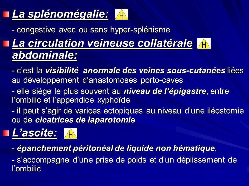 La splénomégalie: - congestive avec ou sans hyper-splénisme La circulation veineuse collatérale abdominale: - cest la visibilité anormale des veines s