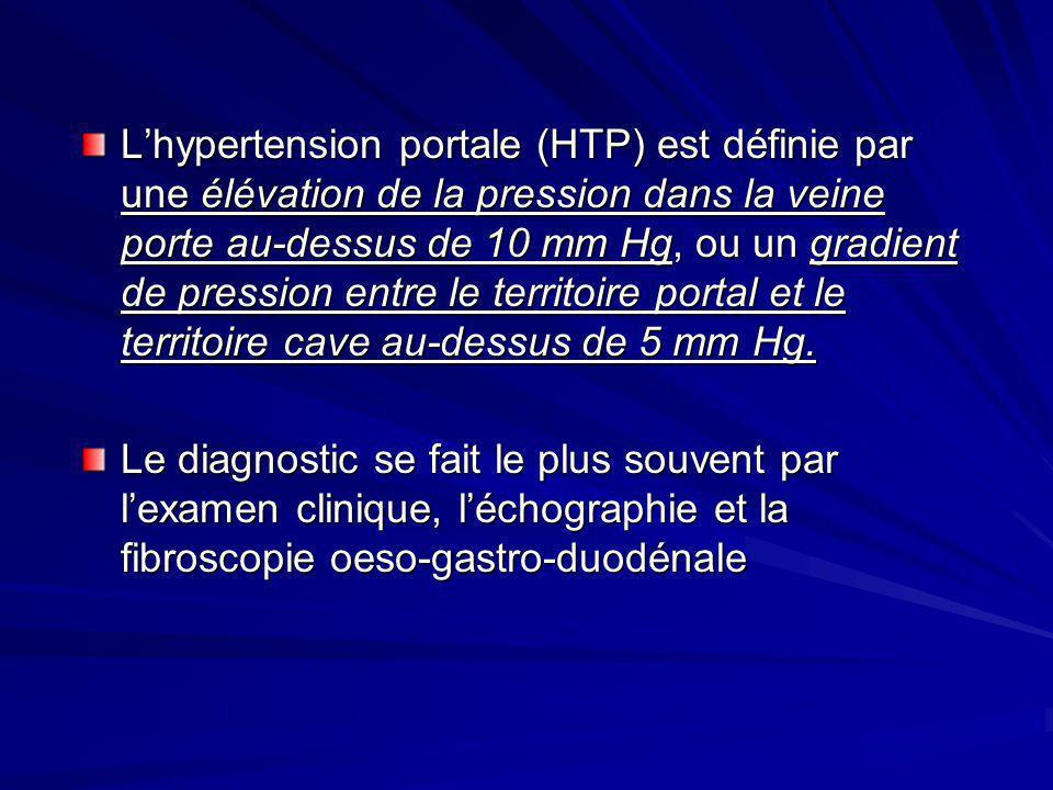 LA FIBROSCOPIE (FOGD) LA FIBROSCOPIE (FOGD) Permet la recherche de signes d HTP : les varices oesophagiennes: cordons bleutés de taille variable, au niveau du 1/3 inférieur de lœsophage: - grade 1: petites VO (- 5mm) disparaissant à linsufflation - grade 2: grosses VO (+ 5mm) non confluentes, ne disparaissant pas à linsufflation - grade 3: grosses varices confluentes permanentes Permet de découvrir une gastropathie d HTP, localisée au niveau du fondus ou de lantre Recherche dun ulcère gastrique ou duodénal, fréquent chez le cirrhotique Découvre un cancer de lœsophage, associé
