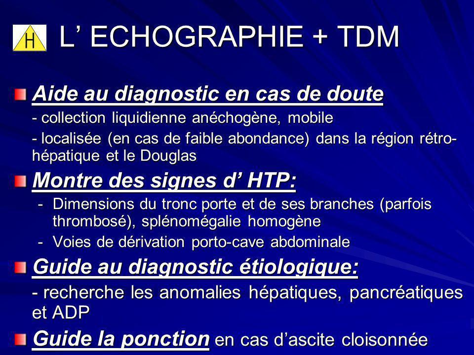 L ECHOGRAPHIE + TDM L ECHOGRAPHIE + TDM Aide au diagnostic en cas de doute - collection liquidienne anéchogène, mobile - localisée (en cas de faible a