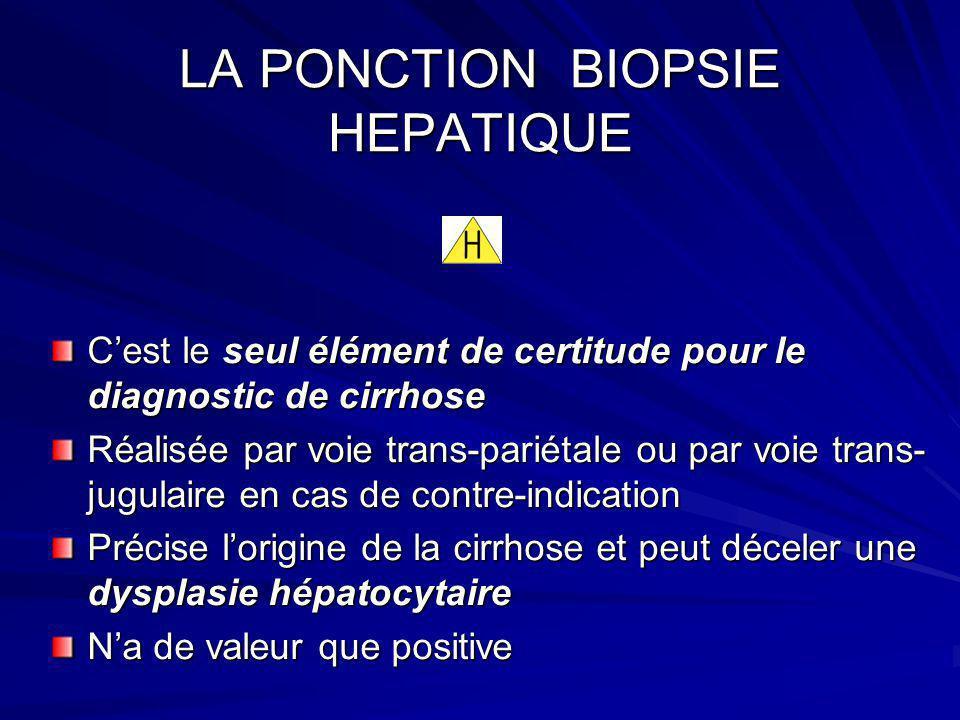 LA PONCTION BIOPSIE HEPATIQUE Cest le seul élément de certitude pour le diagnostic de cirrhose Réalisée par voie trans-pariétale ou par voie trans- ju