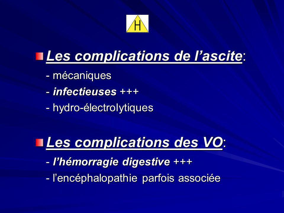 Les complications de lascite: - mécaniques - infectieuses +++ - hydro-électrolytiques Les complications des VO: - lhémorragie digestive +++ - lencépha