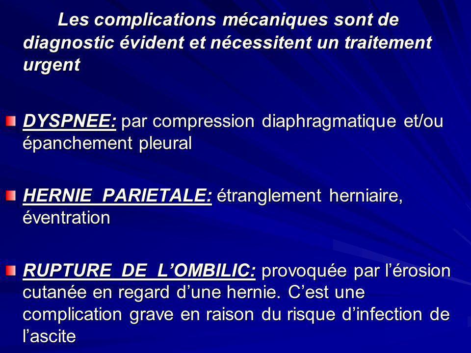 Les complications mécaniques sont de diagnostic évident et nécessitent un traitement urgent Les complications mécaniques sont de diagnostic évident et