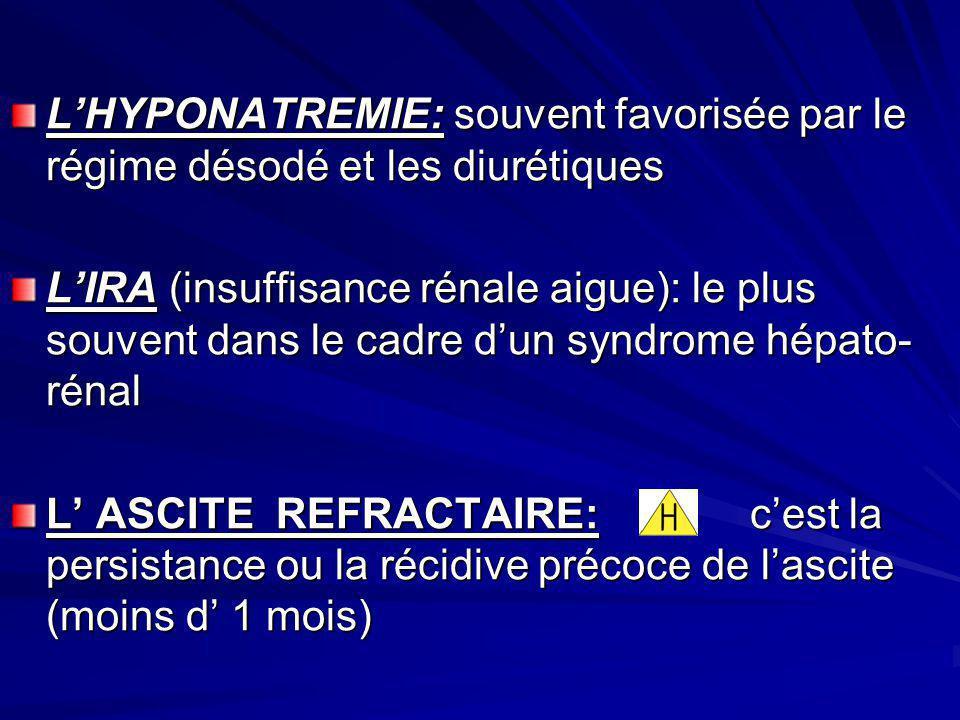 LHYPONATREMIE: souvent favorisée par le régime désodé et les diurétiques LIRA (insuffisance rénale aigue): le plus souvent dans le cadre dun syndrome