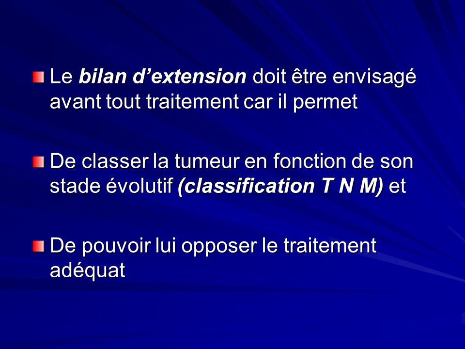 Le bilan dextension doit être envisagé avant tout traitement car il permet De classer la tumeur en fonction de son stade évolutif (classification T N
