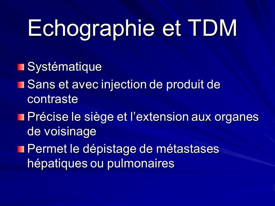 Echographie et TDM Echographie et TDM Systématique Sans et avec injection de produit de contraste Précise le siège et lextension aux organes de voisin