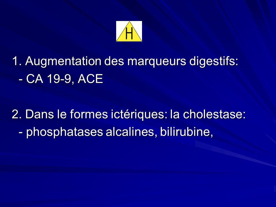 1. Augmentation des marqueurs digestifs: 1. Augmentation des marqueurs digestifs: - CA 19-9, ACE 2. Dans le formes ictériques: la cholestase: 2. Dans